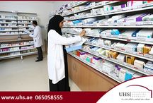 PHARMACY SERVICES at University Hospital Sharjah / The pharmacy operates 24 hours a day, 7 days a week with a mission to provide safe, high quality patient care. Our trained and licensed pharmacists review all doctor prescriptions to ensure correct medication, dosage, intake method, absence of drug interactions and allergies. They also offer counseling services. This will help the patient to understand clearly how to take his/her medications, what to do if he/she skips a dose etc.