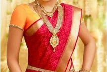 saree with jewellery