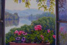 La cour du peintre - peintures de Michèle Ratel / La cour fleurie du peintre - Peintures à l'huile de Michèle Ratel