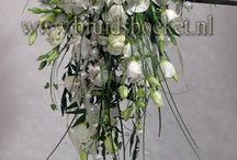 Bruidsboeket waterval / waterval bruidsboeket met corsages en autodecoratie in wit en groen. Ook verkrijgbaar in rood, roze, fuchsia en vele andere kleuren.