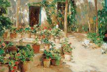 Jardines. / Eliseo Meifrén Roig. Pinturas al óleo de jardines.