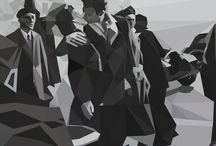 """Geometric art by Mak / """"Geometric Art by Mak"""" es un proyecto realizado por Sergio Gómez, ilustrador y diseñador gráfico, nacido en Linares (Jaén), el 2 de Abril de 1978, en dicho proyecto trata de llevar la geometría aplicada al arte a un punto más contemporáneo y personal, rediseña fotos icónicas o de especial interés trazando un patrón geométrico compuesto por múltiples polígonos regulares e irregulares, que se unen entre si dando forma a la imagen final."""