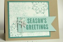 """Stamp:Letterpress Winter / These handmade cards feature Stampin' Up's """"Letterpress Winter"""" stamp set."""