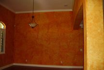 Faux Painting on walls in red-orange-and yellows / Sunny faux glazes in shades of red, orange , and yellow
