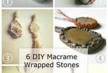 Makrameefassungen Steine