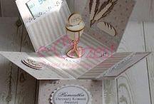 Exploding box na komunię / Exploding box / pudełka - pamiątki I komunii świętej wykonane przez Dorotę.