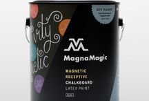 MagnaMagic Paints and More! / MagnaMagic Magnetic Receptive Primer is the original and highest strength magnetic paint.Try our all-in-one MagnaMagic Magnetic Receptive Chalkboard Paint and Tintable Chalkboard Paint for your next DIY adventure, too. Don't forget to send us your MagnaMagic DIY project images so that we can post them to our Pinterest page!