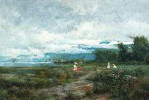 Lago Como, Lombardía, Italia. / Eliseo Meifrén Roig. Pinturas al óleo del Lago Como, Lombardía, Italia.
