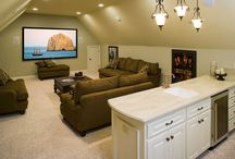 {unfinished basement} / remodeling ideas for the family room, playroom, office, laundry room, 'his' bathroom, and bar :) / by Sarah Bunney