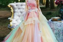 Colorful Wedding Dresses / Most of the wedding dresses are made in white fabric but the colorful one is designed for special wedding theme.