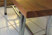 Bench combine solid Wood and stainless steel
