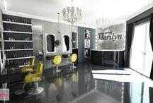 PROJEKT WNĘTRZA SALONU URODY / Projekt salonu urody w stylu glamour w Częstochowie Kolor czarny, grafitowy oraz biały oraz wysoki połysk faktury zastosowanych materiałów wykończeniowych to przepis na stworzenie wnętrza wyrafinowanego, eleganckiego i luksusowego.