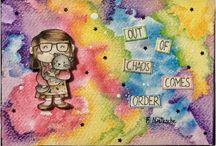 Distress, watercolor e gelatos