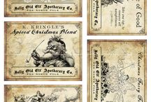 Karácsony képeslap / Christmas postcards Vintage colorful transzfer transfer