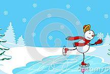 Christmas, snowman, ice rink