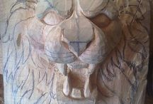 Holz Löwe