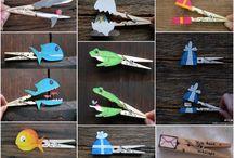 Manualitats amb agulles d'estendre / Creatives manualitats amb agulles d'estendre. Manualitats amb agulles d'estendre per fer amb nens. Animals amb agulles d'estendre, titelles amb agulles d'estendre, casetes, marcs de fotos amb agulles d'estendre...
