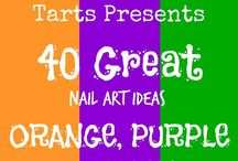 Crumpet Nail Tarts Presents - Orange, Purple and Green / Crumpet Nail Tarts Presents 40 Great Nail Art Ideas #40gnai