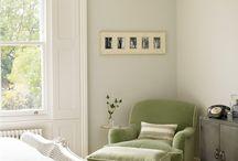 Green white bedroom