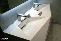 Futuristic washbasin / Modern washbasin LUXUM - unusual projects made possible by the creative ideas and durable and flexible solid surface materials. Created for individual orders, allow the most efficient use of space, capturing every project sent to us. More: www.luxum.pl