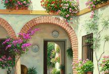 dibujos de patios