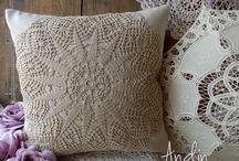 Decorative lace  crochet  pillows