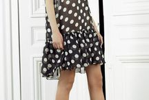 polka dot dress , coat