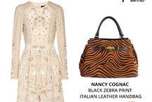 Nancy Cognac black Zebra print bag