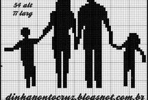 Família e casais em ponto cruz