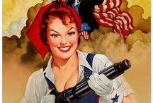 "Rosie the Riveter / What does Rosie the Riveter mean to YOU!!  That iconic image of the woman with the strong arm - boldly stating, ""We Can Do It""?  What do we owe this proud and strong symbol of femininity?  I say - we owe her a great deal.  How about the same pay as a man??  Happy Independence Day! / by Art of the Pin-Up Girl"