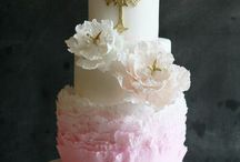 christening cake pink and gold / baptism girl