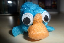 Perry the Platypus  / Shown are various Perry's. Some are made by me using all kinds of different materials.