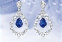 Diamond Outline Double Dew Drop Sapphire Earrings