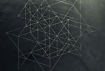 Architectural Drawing / geometric line drawings that suggest space, mostly black and white