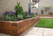 Planters box , wall retained, lawn edging