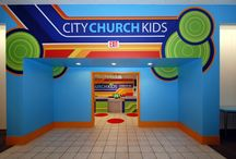 """City Church in FL / Children's Ministry theming can come in all shapes and sizes.. literally! City Church in Tallahassee, FL desired a """"no-theme"""" environment rather than an illustrative. What fun designing around this former retail store with bold colors and a great variety of shapes."""