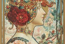 Louis-Théophile Hingre / Louis Théophile Hingre (1832–1911) ~ Born November 19, 1832 predating Mucha by 28yrs who was born July 24, 1860. Most of his work was done while Mucha was still an infant which makes him the true father of Art Nouveau (even though Mucha popularized it). ~ M.S.M. Gish