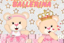 PRINCESS AND BALLERINA PINK GOLD CLIPART ELEMENTS DIGITAL PAPERS