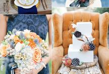 Dusty Blue and Burnt Orange Wedding Color Inspirations