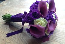 Purple Cala Lily Wedding Flowers / Brides Bouquet, Buttonholes and Corsages, containing Cala Lillies, Lisianthus and Roses.