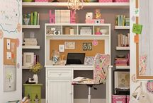Home Office / Craft Room / There is never enough storage or cute feminine craft room ideas! I love having a pretty home office that's organized and all my crafts in one place.  From family command Centers to DIY storage and even closet offices, there are so many ideas and decoration. I definitely have to keep the desk clean, though, in one of these pretty office spaces.