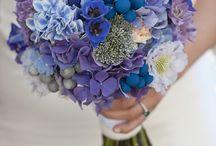 Ramo de novia en tonos azules y malva