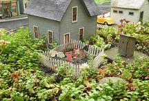 LLL Neighborhoods & Railroad Miniature Gardens / Villages, Neighborhoods and Railroad miniature gardens. Fairy Gardens, Mini Gardens, Gardening.  / by Lush Little Landscapes