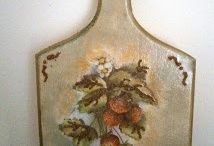 Decoupage  / strawberries on wood in our kitchen !!!!!