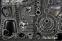 Treasure Box - Midnight Silver - Secondlife Jewellery / #Secondlife Treasure box. Ultimate jewellery fatpack. Midnight silver dark Gothic style. 