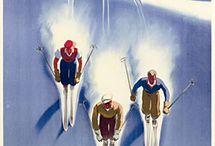 Retro vintage ski poster