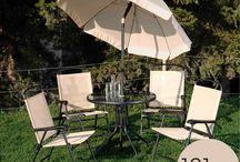 Σετ Τραπεζαρία 6τεμ. 154571 Beige Φ80Χ72 cm ομπρέλα 8 ακτίνες Φ180 cm