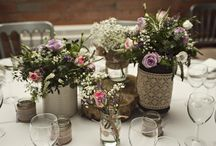 Retro Vintage Table Center Piece / Vintage table decorations with beautiful ditsy lace and coarse hessian gives a wonderfully authentic vintage feel.  Jam jars and old paint pots, bark and tree trunks against the delicate vintage rose and small elegant flowers.