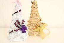 Pletení z papíru - inspirace / pletení z papíru - inspirace - stromky, košíky, koše, strdce atd