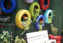 fence tires planters